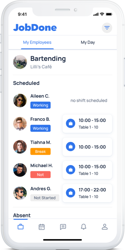 JobDone Mobile App - Dashboard Employees